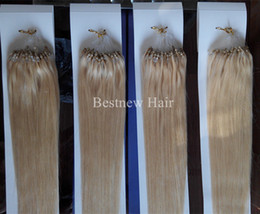 "LUMMY Micro Ring Loop Beads Remy Human Hair Extensions 18""-26"" 1G S 100S Pack #613 Bleach Blond Silk Straight"