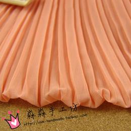 Wholesale Crushed Chiffon Dresses - Textile DIY powdery orange fabric organ plait crushed pure color chiffon Pleated dress wholesale price