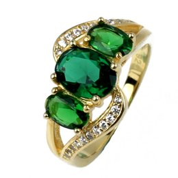 3-Egg Stone Green Emerald S925 Sterling Silver Ring for Women Gold Plated Anniversary Gift R094
