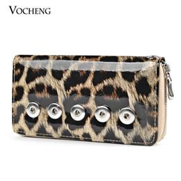 VOCHENG NOOSA Interchangeable Jewelry Leopard Print PU Wallet with 18mm Ginger Snap Button Women Wallet (NN-176)