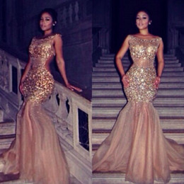 Wholesale Sexy See Through Bateau Mermaid - Sparkling Gold Crystal Mermaid Prom Dresses 2016 Myriam Fares See Through Champagne Sequined Backless Evening Gowns Party Pageant Dresses