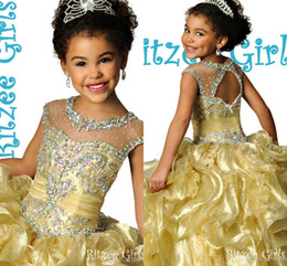 Wholesale Glitz Ritzee Gold Crystal Beaded Ruched Ruffle Organza Girls Pageant Dresses Sparkly Cheap Flower Girls Dresses For Wedding Party Gowns