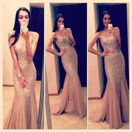 2016 Shining Sequins Mermaid Evening Gowns Rose gold Sweetheart Sleeveless Floor Length Long Formal Evening dresses