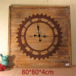 Wholesale Antique do the old wood wall clock hanging table decoration clock square Bar Cafe Fireplace ornaments oversized watches