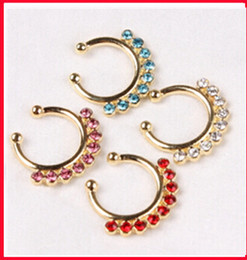 Wholesale No piercing nose Clicker Septum Fake Piercing Nose Hoop Ring Faux Septum Crystal body fashion jewelry