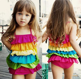 2015 Rainbow color swimwear girl kids beach bikini dress girls ruffles swimsuit colorful one-piece swimsuit bathing suit V15043006
