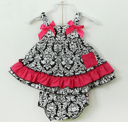 New Summer Baby Girls Flower Bow Ruffles Dress + PP Shorts 2 pcs Outfits Set Green Toddler Baby Sets Cotton Sports Infant Clothing 11210