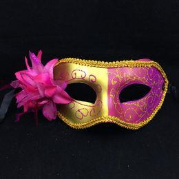 New Luxury Party Masks Flower Aside Halloween Venetian Masquerade Mask Carnival Mardi Gras Costume Novelty Wedding Gift Free Shipping