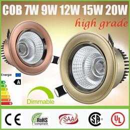2017 cree llevó la garantía 5 años de garantía + CREE 7W 9W 12W 15W 20W COB LED Downlights regulable / No inclinable Gabinete Lámpara de techo empotrada abajo se enciende lámparas CSA SAA
