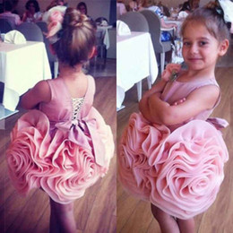 Cute Pink Pleats Ruffles Tiered Flower Girls Dresses Jewel Ball Gown Knee Length lace Up Glitz Girls Pageant Gowns BA0618