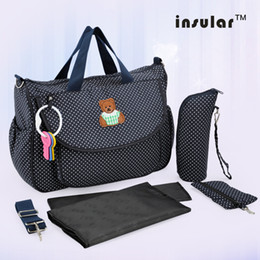 Wholesale Cotton Floral Printing Baby Diaper Bag Canvas Mommy Bag With Feeding Bottle Pocket