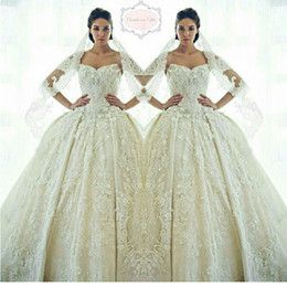 Gorgeous Ziad Nakad Sweetheart Wedding Dresses 2016 Lace Appliques Beads Crystal Sheer Bridal Gowns Princess Custom Made Arabic