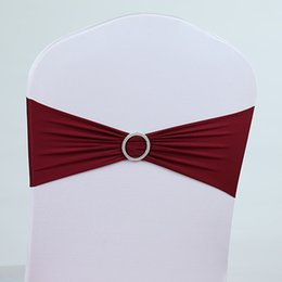 Wholesale DHLFree Burgundy colors spandex lycra chair bands elastic chair sash chair band with buckle for wedding more than colors