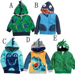Wholesale Cartoo Dinosaur Children Hoodies Jacket Korean looped pile cotton zipper baby boys girls hoody coat kids clothing outwear TR81