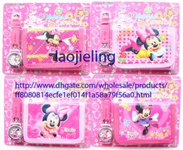 Mickey Mouse Minnie Mouse cartoon watches and wallet sets with gift box Free shipping Wholesale - 100 sets