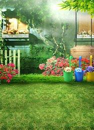 Promotion bébé toiles de fond la photographie de vinyle 200cm * 150cm Green Green grassland couvert de la maison Flower baby Room child vinyl backdrops pour la photographie