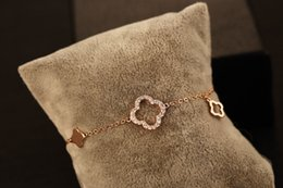 Fashion Metal Gold Plated Clovers Diamante Charm Bracelets & Bangles For Women Elegant Bracelet Female Fine Jewelry Free Shipping