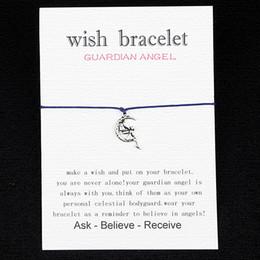 Wholesale 2016 new Wish bracelet guardian angel gift Card with Friendship Charm String cord DIY handmade bracelet men and women custom drop shipping