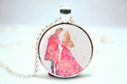 Wholesale 10pcs Princess and Prince Philip Sleeping Beauty Art Print NECKLACE Glass Photo Cabochon Necklace