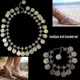 Flower Child Silver Coin Necklace Anklet Set Jewelry Set Adjustable Handmade floral design Boho Gypsy Beachy Ethnic necklace bracelet sets
