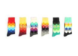 Wholesale-1lot=6pairs=12pc brand happy socks men socks,Gradient Color Knee High Business british style cotton in tube socks Sports socks