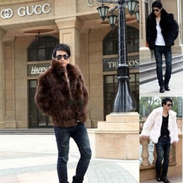 Wholesale New Fashion Winter Faux Fur Men s Jacket Hoodies Fur Coat Brown White Men Long Sleeves Clothing Winter Outerwear