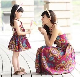 Wholesale 2015 Summer mother and daughter matching long dresses clothes Parent child flowers cotton Bosnia skirt Condole belt beach dress clothing