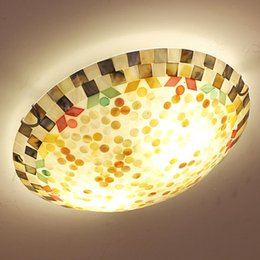 Wholesale Lamp Seashells - Dia 50CM Natural Seashell Led Ceiling Light Mediterranean Style Lamp Italy Design Bedroom Hall Ceiling Lamp Indoor Lighting order<$18no trac