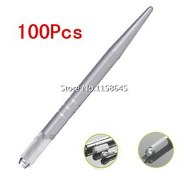 DHL 100Pcs Silver Brand Alloy Professional Permanent Makeup Manual Pen 3D Eyebrow Embroidery Handmade Tattoo MicroBlading Pen