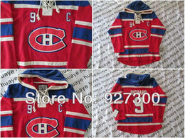 Wholesale Factory Outlet Best quality Canadiens Maurice Richard C Patch Red CH Old Time Hockey Hoodies Red w Blue Hoodie Lacing Neck Ho