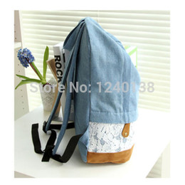 Wholesale-2015 new fashion Cute Womens Girls Lace Floral Canvas Backpack Rucksack School Satchel Travel Vintage Denim Bag free shipping