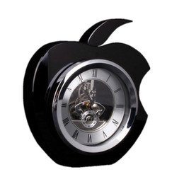Wholesale The black crystal glass table clock Apple clock practical TV cabinet bookcase bedside table furnishing articles