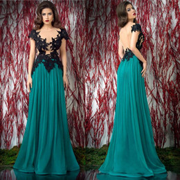 2016 Evening Dresses Sexy Sheer Nude Bodice Black Short Sleeve Appliques Chiffon Floor Length Long Gowns