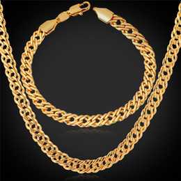 U7 Gold Necklace Set Men Jewelry 18K Stamp 18K Real Gold  Platinum Rose Gold Plated Necklace Bracelet Party Jewelry Set