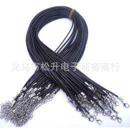 Wholesale Silver Plated Made China - Black Cowhide chain Leather Cord Necklaces For Women Jewelry Making DIY jewelry components