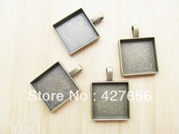 Large antique bronze square frame base setting pendant hanging charm finding,fit 20mm cabochon  picture  cameo