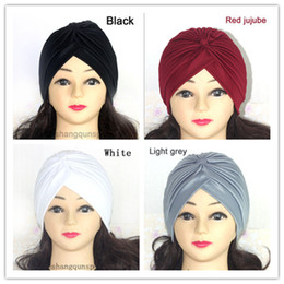 Wholesale Hot Sale Women Stretchy Turban Head Wrap Band Sleep Hat Chemo Bandana Hijab Pleated India Caps Scarf Hat Ear Cap FK852573