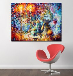 Wholesale Palette Knife Oil Painting Candelabrum Tea Set on Table Still Life Picture Printed On Canvas For Home Office Wall Art Decor