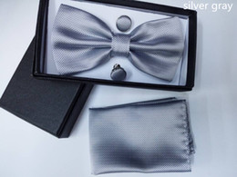 Wholesale Men s bow tie Surface Small Lattice Variety of color choices colors Suite Bow Tie Hanky with Cufflink Set silk