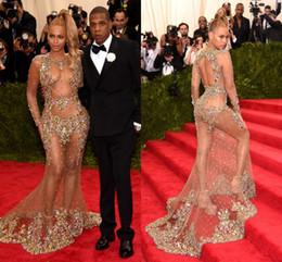 Sheer Scoop Mermaid Celebrity Dresses Colorful Crystal Sexy See Through Long Sleeves Red Carpet Dresses Beyonce Jay 2015 Met Gala Party
