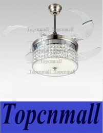 Wholesale American modern Style Led lights Collapsible fan Crystal Chandelier with Remote Control quot Lightcolor adjustable Freeship LYH80