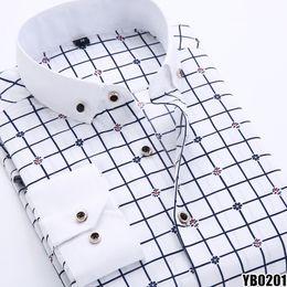 Wholesale-HLC NEW mens shirt camisa masculina Plaid Polkadot floral shirts men camisas hombre Business Formal 11 DESIGNS men dress shirts