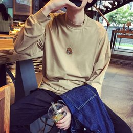 Wholesale European and American big name fashion week catwalk models DIY Funny face little high collar hedging T shirt casual bottoming TEE M
