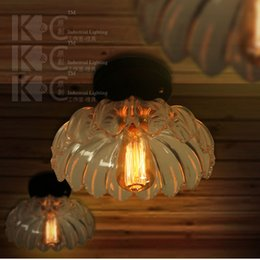 Wholesale-Vintage Loft lanterns Crystal Glass Ceiling Light Home Decorative Edison Bulb Ceiling Lamp Bar Counter Flower shape Fixture