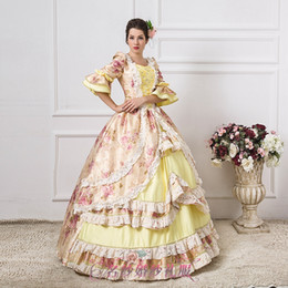 luxury light yellow flower ball gown medieval dress renaissance Gown queen Dress Victorian Marie Antoinette Colonial Belle Ball