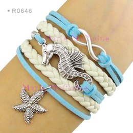 Wholesale Infinity Love Seahorse Charm Bracelets Sea Horse Starfish Pendant Bracelets Wrap Leather Aqua Blue Suede Unisex Women Fashion Gift Custom