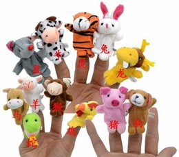 Wholesale 3000pcs Finger Puppet Plush Toys Baby Zodiac And Famliy Plush Lovely Play Learn Animal Story Toy Cute Cartoon Finger Doll Kids Toys