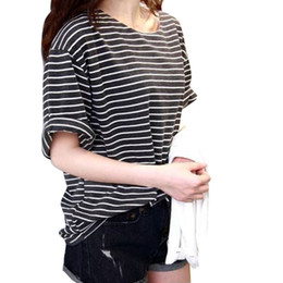 New 2016 summer mm all-match basic shirt female top young girl stripe loose half sleeve HARAJUKU t-shirts Factory Wholesale
