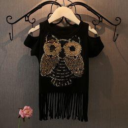 Girls T-shirts Hot Summer Childern's Clothing Cute Owl Sequined Tops Tee Off Shoulder Kids Cotton T Shirt Baby Tassel T-shirt Gray Black