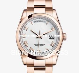Regarder rose d'or à vendre-De haute qualité rose dorée nouveau arrivel unisexe automatique montre-bracelet mécanique cadeau de 36mm DayDate 118205